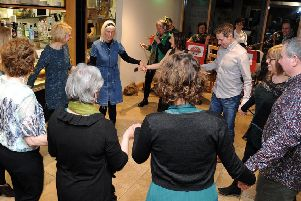 Guests having fun at St Catherine's Hospice's ceilidh
