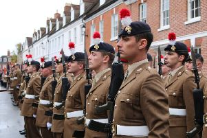 Fusiliers form up for a parade.