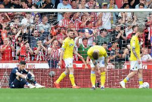 PAIN: As Leeds United fall to a 2-0 defeat at Brentford.
