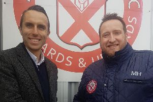 Chris Connor, Partner of Scott Rees & Co with Mark Hayes, Chairman of Ashton Town AFC.