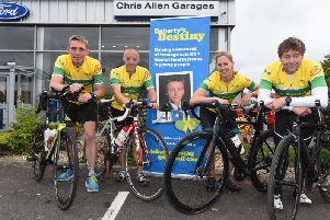 The fundraising team (from left), Pete Waywell, Chris Horner, Sammie Stuart and Phill Beard  want to raise funds for and awareness of Doherty's Destiny teenage mental health charity