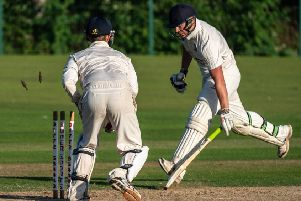 Fleetwood's Zack Coultas is run out     Picture: Tim Gilbert/Preston Photographic Society