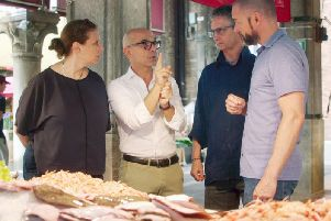 Angela Hartnett, Luca de Vita, Bruno Gavangnin and Fred Sirieix enjoy a Venetian fish market in Remarkable Places to Eat