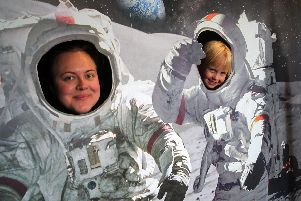 Clare Dale and Imogen Wachlarz marking the 50th anniversary of the moon landing.