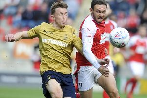 Sheffield United target Ben Osborn, left, playing for Forest against Rotherham United.