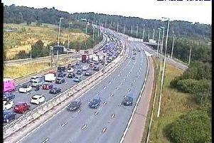 Traffic queues northbound at junction 31 (Photo: Highways England)