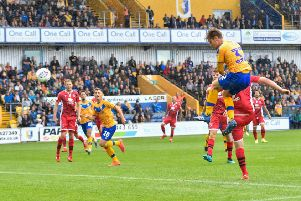 Mansfield Town's Danny Rose heads the equaliser: Picture Steve Flynn/AHPIX LTD, Football, Sky Bet League Two, Mansfield Town v Morecambe, One Call Stadium, Mansfield, UK, 10/08/19, K.O 3pm''Howard Roe - 07973739229