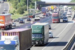 The M1 motorway between Derbyshire and Nottinghamshire.