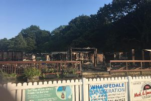 The devastation left by the fire at the Ilkley cricket club (Photo: Barry Oldham)
