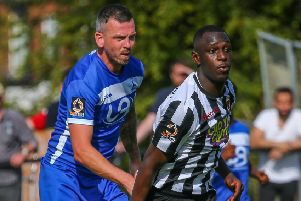 Action from  Chorley's goalless draw last Saturday with Hartlepool (photo: Stefan Willoughby)