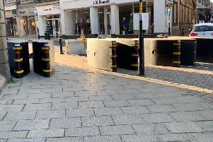 Some of the anti-terrorism road blocks installed in Harrogate - This example is located at James Street.