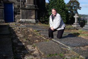 Reverend Jeanette Roberts disappointed after some old stone flags were stolen from St Peter's church, Sowerby