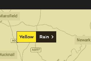 The Met Office has issued a yellow weather warning for rain in Nottinghamshire