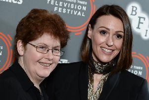 "Sally Wainwright and Suranne Jones attend the ""Gentleman Jack"" photocall and Q&A during the BFI & Radio Times Television Festival 2019 (Photo by Jeff Spicer/Getty Images)"