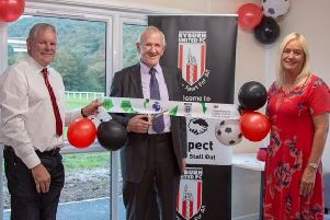 Ryburn United Juniors FC Chairman, Ian Forbes, Life Member, Richard Armitage and Chairman's wife, Judith Forbes cut the ribbon to the new pavilion.