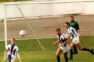 Halifax 2-2 Darlington, The Shay, August 15, 1987. Photo: Keith Middleton.