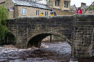 High river levels in Hebden Bridge had people worried about flooding