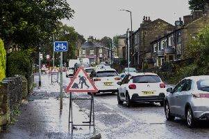Traffic queues in Northowram, due to road works. Photo by Bruce Fitzgerald.