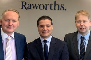 Raworths' Dispute Resolution team in Harrogate - Jonathan Mortimer, Ervin Shakaj and Matthew White.