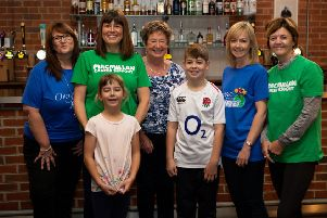 Deb Meek, Alison Moore, Janette Clark, Paula Ward, Ros Craven, Olivia Moore and Sam Moore, at the Venue Barkisland. Alison Moore is doing 20 fundraising events to mark 20 years since her brother and dad passed away