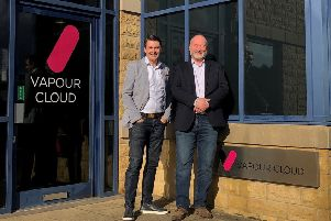New arrival: Vapour Cloud's CEO Tim Mercer is pictured with Blaine Craig.