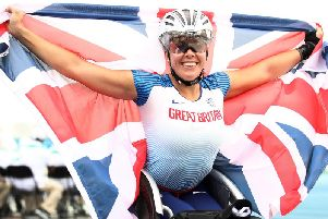 Hannah Cockcroft of Great Britain celebrates winning the Women's 100m T34 final on Day Four of the IPC World Para Athletics Championships 2019 (Photo by Bryn Lennon/Getty Images)