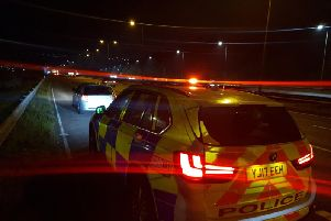 The diver of this car was pulled over by police after driving too slowly in the middle lane of the M62