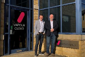 New arrival: Vapour Clouds CEO Tim Mercer is pictured with Blaine Craig.