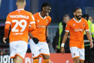 Gnanduillet was in a buoyant mood after his two goals for Blackpool on Saturday