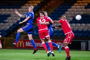 Nathan Clarke in action, FC Halifax Town v Chorley, at The Shay