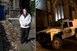 Reverend Jeanette Roberts at St Peter's church, Sowerby and picture submitted by Todmorden Unitarian Church of police outside the building