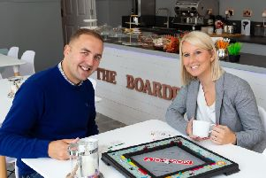 Paul and Nicola Middleton at their board-game cafe, The Boardroom, Rochdale Road, Todmorden