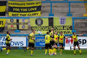 Actions from FC Halifax Town v Harrogate Town, FA Cup match at the Shay. Pictured is Harrogate celebrating a goal