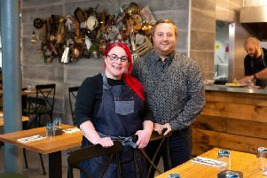 Owners Sarah and Jamie Horsley, at the new True North restaurant, Dean Clough, Halifax.