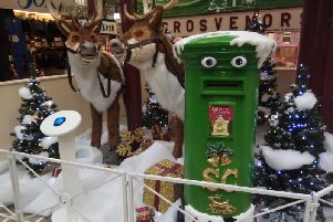 The reindeer and talking post box display in Halifax market