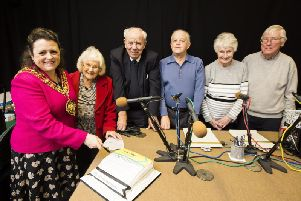 Calderdale Talking Newspaper Association 40th anniversary. Cutting the cake, from the left, Mayor of Calderdale councillor Dot Foster, reader Jennifer Pell, reader and chairman Roger Simpson, technician Dave Wozencroft, listener Dorothy Barker and Nigel Sutcliffe. Photo by Jim Fitton.