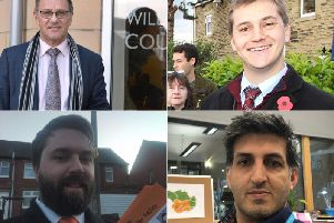 Calder Valley candidates, from top left clockwise Craig Whittaker (Conservative),  Josh Fenton-Glynn (Labour) Javed Bashir (Liberal Democrat)  and  Richard Phillips (Liberal Party)