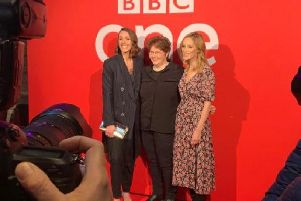 Suranne Jones, Sally Wainwright and Sophie Rundle on the red carpet at Square Chapel Arts Centre in Halifax