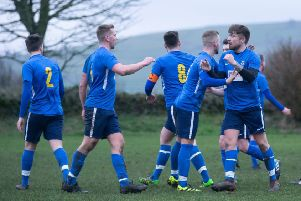 Actions from Midgley United v Shelf FC, at Midgley. Pictured is Shelf celebrate a goal