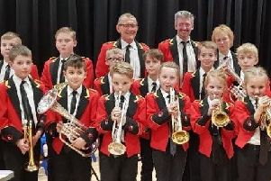 Members of the Foxhill Brass Band celebrating the donation from Persimmon Homes
