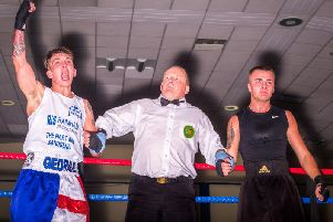 George Stewart shows his delight after beating Kieran Glave from Westway ABC. PICTURES BY GLENN KILPATRICK / THE WHITBY PHOTOGRAPHER