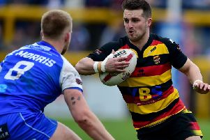 Gareth Moore in action for Dewsbury against Halifax last season. PIC: Paul Butterfield.