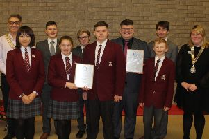 Winners: The two Rishworth School teams with mayor Marcus Thompson and Rotary's Lucy Hodgson.