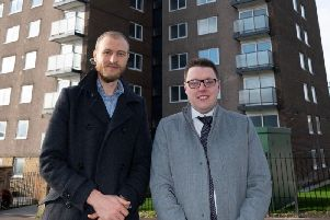 Coun Daniel Sutherland, Cabinet Member for Planning, Housing and Environment (left) and Matthew Settle, director, Sterling Properties (right) pictured outside Calder Rise