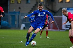 Scott Quigley for FC Halifax Town v Solihull, FA Trophy at the Shay
