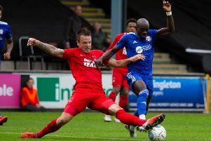 Actions from Halifax Town v Leyton Orient, at The Shay. Sanmi Odelusi