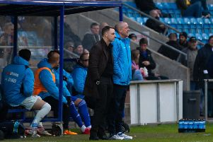 Actions from FC Halifax Town v Dover Athletic at the Shay. Jamie Fullarton and Phil Hughes