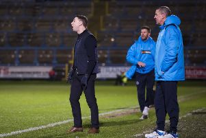 FC Halifax Town v Boreham Wood. Halifax manager Jamie Fullarton.and assistant boss Phil Hughes