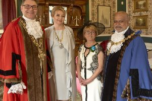 The Mayor and Mayoress of Calderdale Coun Marcus Thmpson and Nicola Chance Thmpson with their deputies Coun Chris Pillai and Beverley Krishnapillai.