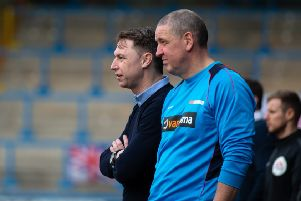 Actions from FC Halifax Town v Havant and Waterlooville, at the Shay. Pictured is Jamie Fullarton and assistant manager Phil Hughes.